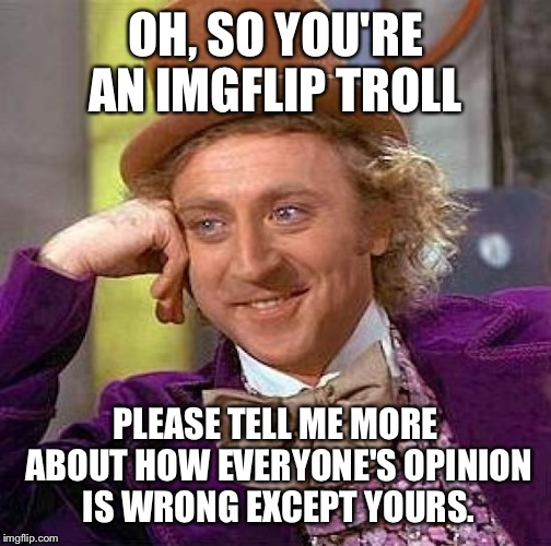 Creepy Condescending Wonka Meme | OH, SO YOU'RE AN IMGFLIP TROLL PLEASE TELL ME MORE ABOUT HOW EVERYONE'S OPINION IS WRONG EXCEPT YOURS. | image tagged in memes,creepy condescending wonka | made w/ Imgflip meme maker