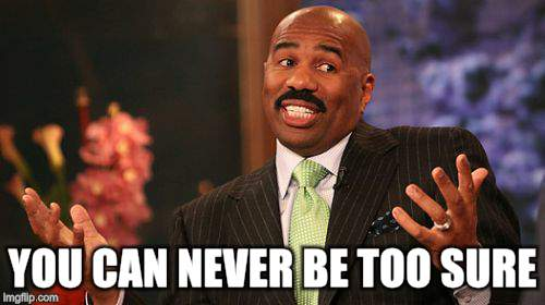 Steve Harvey Meme | YOU CAN NEVER BE TOO SURE | image tagged in memes,steve harvey | made w/ Imgflip meme maker