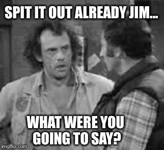 SPIT IT OUT ALREADY JIM... WHAT WERE YOU GOING TO SAY? | made w/ Imgflip meme maker