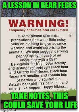 Happy Trails To You.... | A LESSON IN BEAR FECES TAKE NOTES, THIS COULD SAVE YOUR LIFE | image tagged in bears,memes,lol,funny signs | made w/ Imgflip meme maker