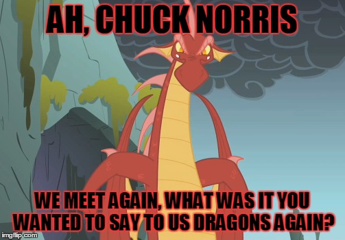 AH, CHUCK NORRIS WE MEET AGAIN, WHAT WAS IT YOU WANTED TO SAY TO US DRAGONS AGAIN? | made w/ Imgflip meme maker