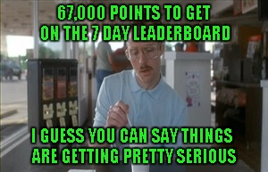"Back when I first started, 60,000 + points was the ""TOP"" of the leaderboard. 