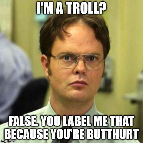 I'M A TROLL? FALSE. YOU LABEL ME THAT BECAUSE YOU'RE BUTTHURT | made w/ Imgflip meme maker