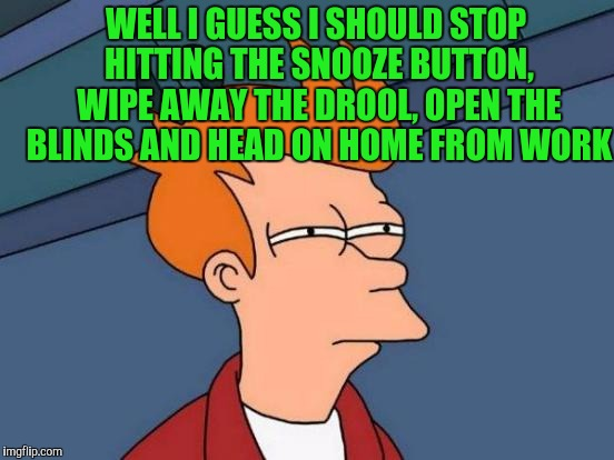 Futurama Fry Meme | WELL I GUESS I SHOULD STOP HITTING THE SNOOZE BUTTON, WIPE AWAY THE DROOL, OPEN THE BLINDS AND HEAD ON HOME FROM WORK | image tagged in memes,futurama fry | made w/ Imgflip meme maker