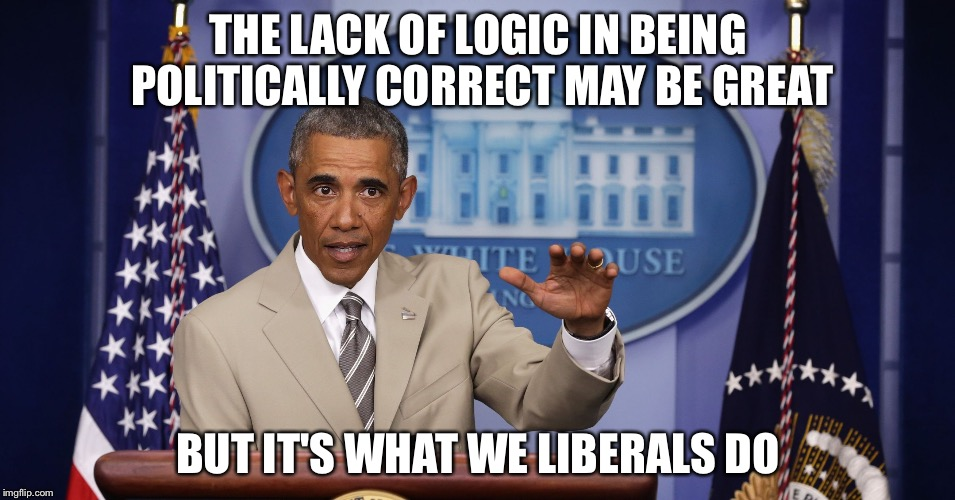Too much BS | THE LACK OF LOGIC IN BEING POLITICALLY CORRECT MAY BE GREAT BUT IT'S WHAT WE LIBERALS DO | image tagged in too much bs | made w/ Imgflip meme maker