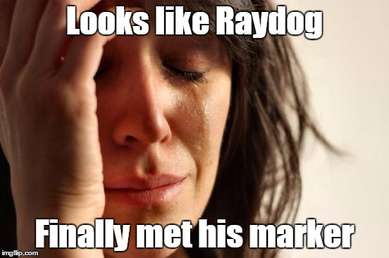 First World Problems Meme | Looks like Raydog Finally met his marker | image tagged in memes,first world problems | made w/ Imgflip meme maker