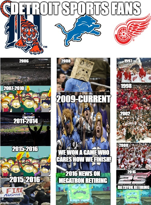 red wings, tigers, and lions fans |  DETROIT SPORTS FANS; 2006                                                      2008                                                                                         1997; 1998; 2007-2010; 2009-CURRENT; 2002; 2011-2014                                                                   2015-2016; 2008; WE WON A GAME WHO CARES HOW WE FINISH! 2016                                     DATSYUK RETIRING; 2016 NEWS ON MEGATRON RETIRING; 2015-2016 | image tagged in detroit lions,detroit tigers,detroit red wings,nhl,nfl,mlb | made w/ Imgflip meme maker