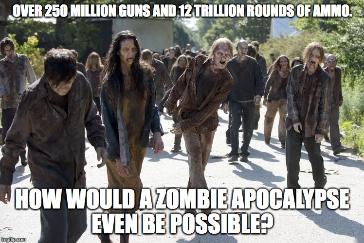 zombie guns |  OVER 250 MILLION GUNS AND 12 TRILLION ROUNDS OF AMMO. HOW WOULD A ZOMBIE APOCALYPSE EVEN BE POSSIBLE? | image tagged in zombie guns | made w/ Imgflip meme maker