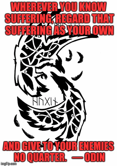 WHEREVER YOU KNOW SUFFERING, REGARD THAT SUFFERING AS YOUR OWN AND GIVE TO YOUR ENEMIES NO QUARTER.   — ODIN | made w/ Imgflip meme maker