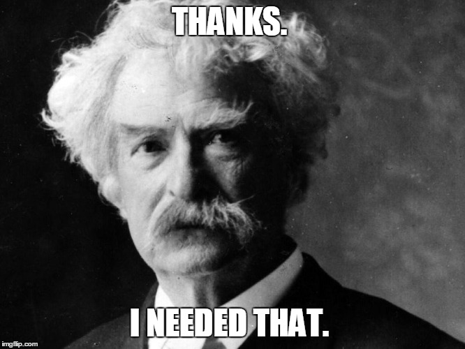 Mark Twain | THANKS. I NEEDED THAT. | image tagged in mark twain | made w/ Imgflip meme maker