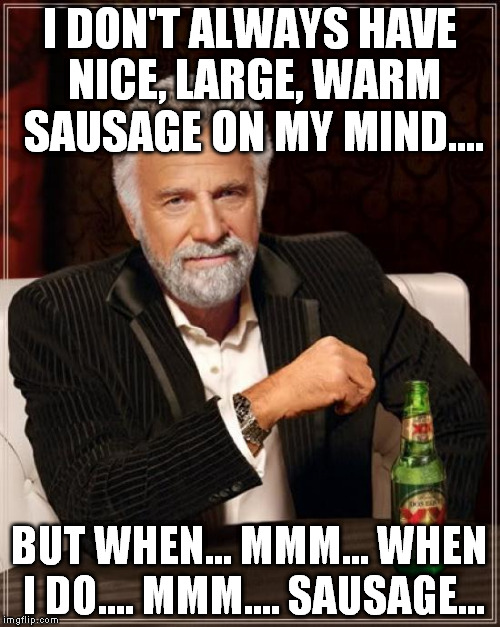 The Most Interesting Man In The World Meme | I DON'T ALWAYS HAVE NICE, LARGE, WARM SAUSAGE ON MY MIND.... BUT WHEN... MMM... WHEN I DO.... MMM.... SAUSAGE... | image tagged in memes,the most interesting man in the world | made w/ Imgflip meme maker