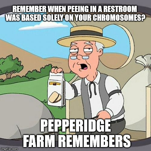 Pepperidge Farm Remembers | REMEMBER WHEN PEEING IN A RESTROOM WAS BASED SOLELY ON YOUR CHROMOSOMES? PEPPERIDGE FARM REMEMBERS | image tagged in memes,pepperidge farm remembers | made w/ Imgflip meme maker