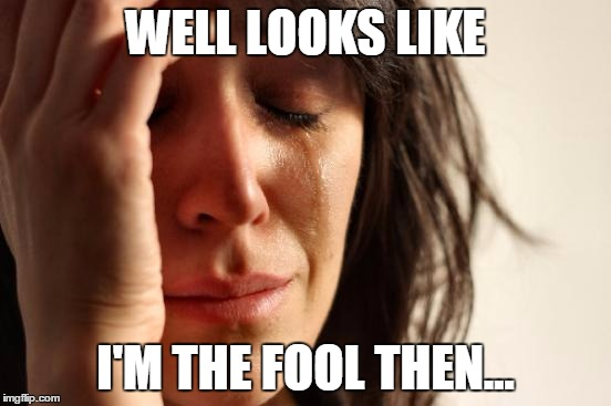 First World Problems Meme | WELL LOOKS LIKE I'M THE FOOL THEN... | image tagged in memes,first world problems | made w/ Imgflip meme maker