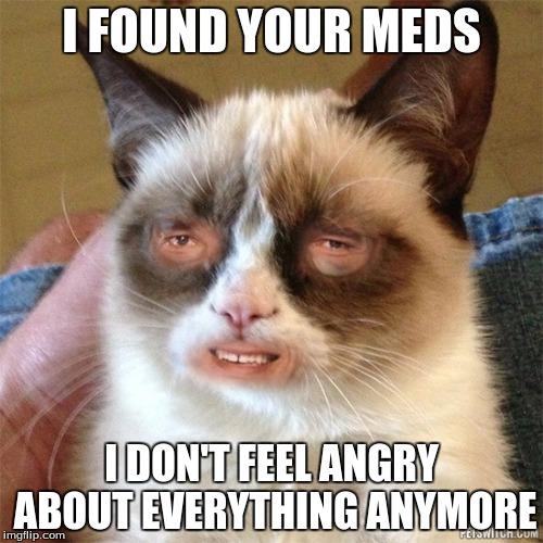 Grumpy Cat Weird | I FOUND YOUR MEDS I DON'T FEEL ANGRY ABOUT EVERYTHING ANYMORE | image tagged in grumpy cat,memes | made w/ Imgflip meme maker