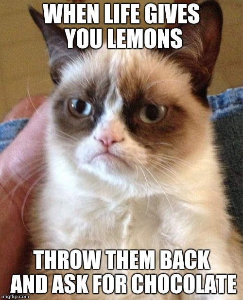 Grumpy Cat Meme |  WHEN LIFE GIVES YOU LEMONS; THROW THEM BACK AND ASK FOR CHOCOLATE | image tagged in memes,grumpy cat | made w/ Imgflip meme maker