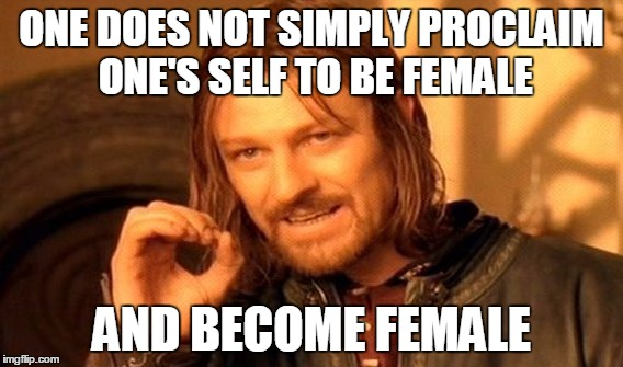 One Does Not Simply Meme | ONE DOES NOT SIMPLY PROCLAIM ONE'S SELF TO BE FEMALE AND BECOME FEMALE | image tagged in memes,one does not simply | made w/ Imgflip meme maker