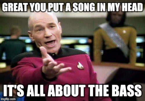 Picard Wtf Meme | GREAT YOU PUT A SONG IN MY HEAD IT'S ALL ABOUT THE BASS | image tagged in memes,picard wtf | made w/ Imgflip meme maker