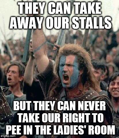 THEY CAN TAKE AWAY OUR STALLS BUT THEY CAN NEVER TAKE OUR RIGHT TO PEE IN THE LADIES' ROOM | made w/ Imgflip meme maker
