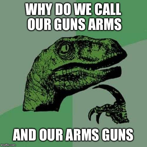 Philosoraptor Meme | WHY DO WE CALL OUR GUNS ARMS AND OUR ARMS GUNS | image tagged in memes,philosoraptor | made w/ Imgflip meme maker