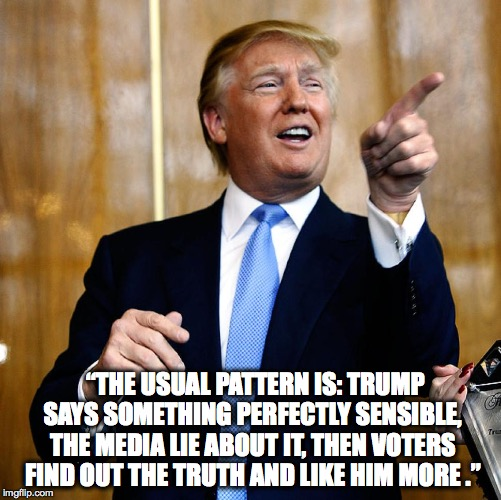 "Donal Trump Birthday |  ""THE USUAL PATTERN IS: TRUMP SAYS SOMETHING PERFECTLY SENSIBLE, THE MEDIA LIE ABOUT IT, THEN VOTERS FIND OUT THE TRUTH AND LIKE HIM MORE ."" 