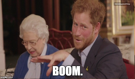 Harry Boom |  BOOM. | image tagged in prince harry,boom,mic drop,royals,british royals | made w/ Imgflip meme maker