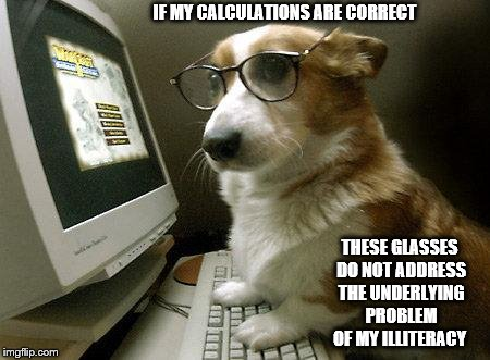I'm no Einstein but | IF MY CALCULATIONS ARE CORRECT THESE GLASSES DO NOT ADDRESS THE UNDERLYING PROBLEM OF MY ILLITERACY | image tagged in smart dog,dog training,dog computer | made w/ Imgflip meme maker