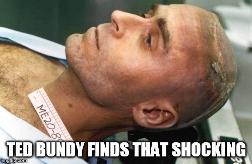 Dead Bundy | TED BUNDY FINDS THAT SHOCKING | image tagged in dead bundy | made w/ Imgflip meme maker