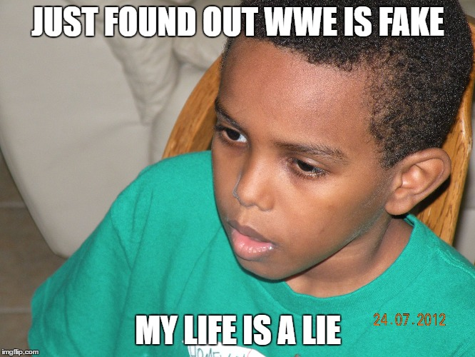 JUST FOUND OUT WWE IS FAKE MY LIFE IS A LIE | image tagged in my life is a lie | made w/ Imgflip meme maker