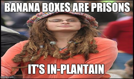 BANANA BOXES ARE PRISONS IT'S IN-PLANTAIN | made w/ Imgflip meme maker