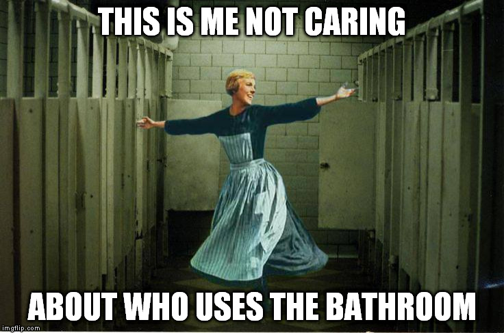 Bathroom politics | THIS IS ME NOT CARING ABOUT WHO USES THE BATHROOM | image tagged in sound of music bathroom,this is me not caring,transgender bathroom | made w/ Imgflip meme maker