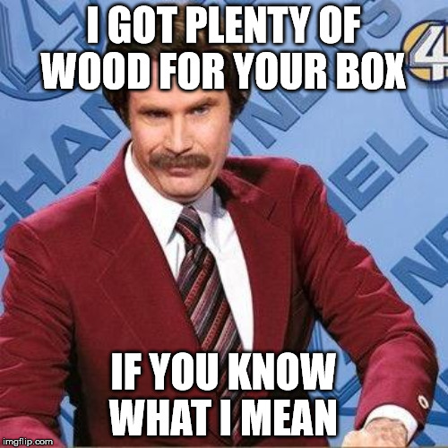 Randy Ron | I GOT PLENTY OF WOOD FOR YOUR BOX IF YOU KNOW WHAT I MEAN | image tagged in ron burgundy | made w/ Imgflip meme maker
