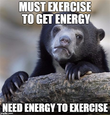 Confession Bear Meme | MUST EXERCISE TO GET ENERGY NEED ENERGY TO EXERCISE | image tagged in memes,confession bear,AdviceAnimals | made w/ Imgflip meme maker