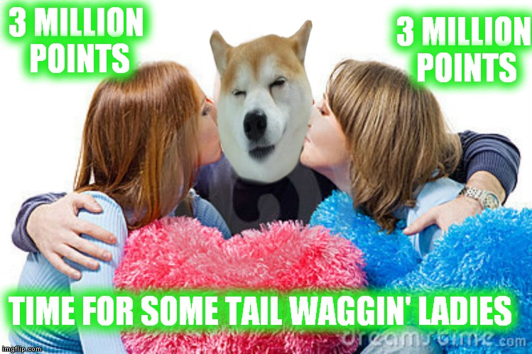 3 MILLION POINTS 3 MILLION POINTS TIME FOR SOME TAIL WAGGIN' LADIES | made w/ Imgflip meme maker