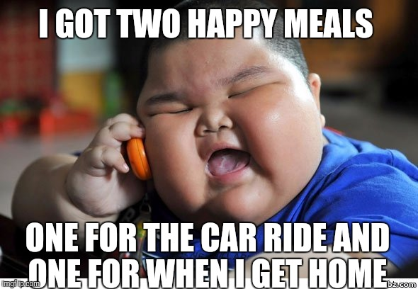 Kevin gates parody meme  |  I GOT TWO HAPPY MEALS; ONE FOR THE CAR RIDE AND ONE FOR WHEN I GET HOME | image tagged in rappers,parody,fat kid,2,phones | made w/ Imgflip meme maker