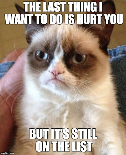 Grumpy Cat Meme | THE LAST THING I WANT TO DO IS HURT YOU BUT IT'S STILL ON THE LIST | image tagged in memes,grumpy cat | made w/ Imgflip meme maker