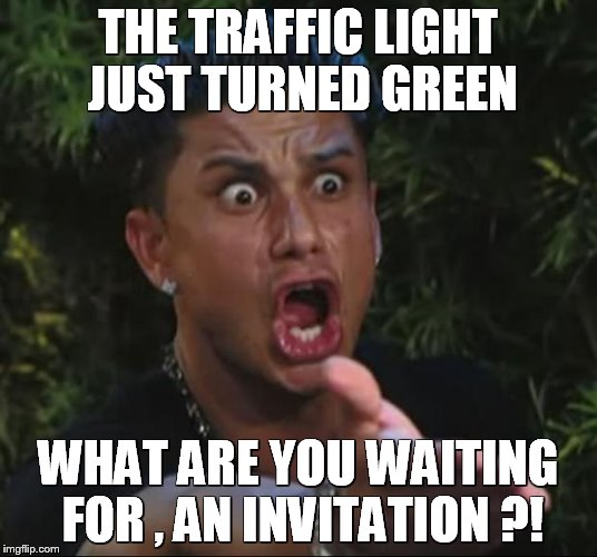 DJ Pauly D Meme |  THE TRAFFIC LIGHT JUST TURNED GREEN; WHAT ARE YOU WAITING FOR , AN INVITATION ?! | image tagged in memes,dj pauly d | made w/ Imgflip meme maker