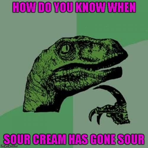 Seriously folks, I've eaten sour cream well beyond it's expiration date and I never noticed a difference! | HOW DO YOU KNOW WHEN SOUR CREAM HAS GONE SOUR | image tagged in memes,philosoraptor | made w/ Imgflip meme maker
