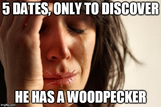 First World Problems Meme | 5 DATES, ONLY TO DISCOVER HE HAS A WOODPECKER | image tagged in memes,first world problems | made w/ Imgflip meme maker