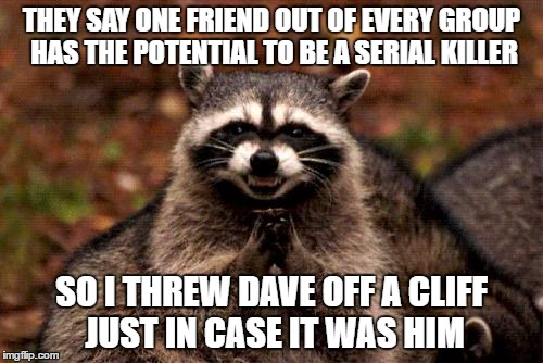 Nicknak is Next | THEY SAY ONE FRIEND OUT OF EVERY GROUP HAS THE POTENTIAL TO BE A SERIAL KILLER SO I THREW DAVE OFF A CLIFF JUST IN CASE IT WAS HIM | image tagged in memes,evil plotting raccoon | made w/ Imgflip meme maker