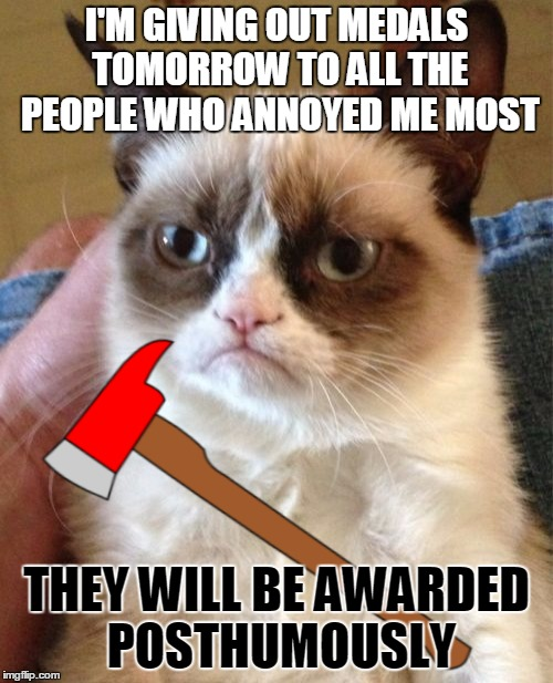 Get in line | I'M GIVING OUT MEDALS TOMORROW TO ALL THE PEOPLE WHO ANNOYED ME MOST THEY WILL BE AWARDED POSTHUMOUSLY | image tagged in memes,grumpy cat,medals,axe,posthumously,maim | made w/ Imgflip meme maker