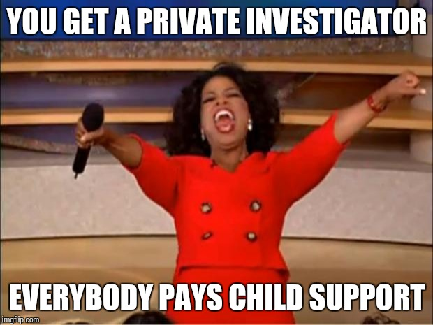 Oprah You Get A Meme | YOU GET A PRIVATE INVESTIGATOR EVERYBODY PAYS CHILD SUPPORT | image tagged in memes,oprah you get a | made w/ Imgflip meme maker