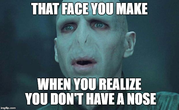 For the record, I have never made this face. |  THAT FACE YOU MAKE; WHEN YOU REALIZE YOU DON'T HAVE A NOSE | image tagged in memes,voldemort | made w/ Imgflip meme maker