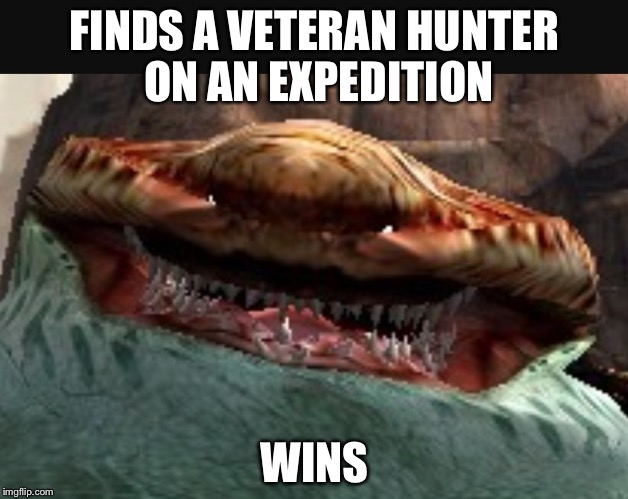 DISCLAIMER: the Tigerstripe Zamtrios is a monster in the game Monster Hunter 4 Ultimate (haven't seen it yet, still at gycepros) |  FINDS A VETERAN HUNTER ON AN EXPEDITION; WINS | image tagged in overjoyed tigerstripe zamtrios mh4u,mh4u,overjoyed | made w/ Imgflip meme maker