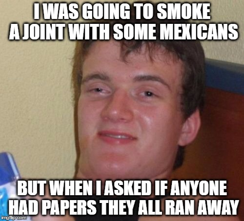 10 Guy Meme | I WAS GOING TO SMOKE A JOINT WITH SOME MEXICANS BUT WHEN I ASKED IF ANYONE HAD PAPERS THEY ALL RAN AWAY | image tagged in memes,10 guy | made w/ Imgflip meme maker