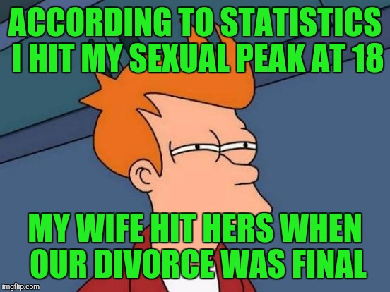 Futurama Fry Meme | ACCORDING TO STATISTICS I HIT MY SEXUAL PEAK AT 18 MY WIFE HIT HERS WHEN OUR DIVORCE WAS FINAL | image tagged in memes,futurama fry | made w/ Imgflip meme maker