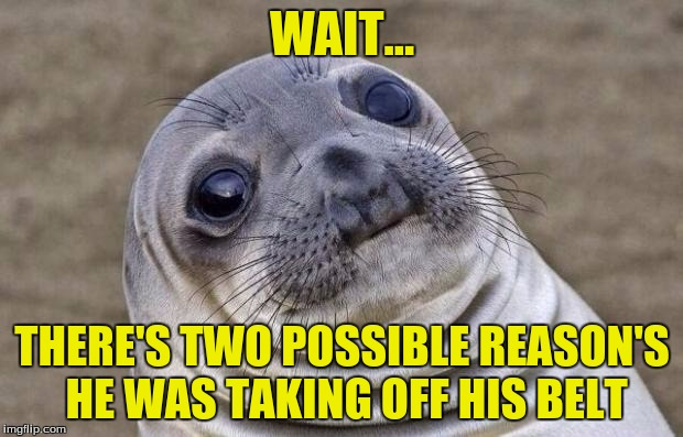 Awkward Moment Sealion Meme | WAIT... THERE'S TWO POSSIBLE REASON'S HE WAS TAKING OFF HIS BELT | image tagged in memes,awkward moment sealion | made w/ Imgflip meme maker
