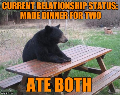 Bad Luck Bear Meme | CURRENT RELATIONSHIP STATUS: MADE DINNER FOR TWO ATE BOTH | image tagged in memes,bad luck bear | made w/ Imgflip meme maker