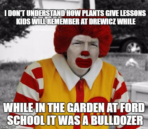 HYPOCRISY IN FULL BLOOM! | I DON'T UNDERSTAND HOW PLANTS GIVE LESSONS KIDS WILL REMEMBER AT DREWICZ WHILE WHILE IN THE GARDEN AT FORD SCHOOL IT WAS A BULLDOZER | image tagged in ronald mcdonald trump,garden,bulldozer | made w/ Imgflip meme maker