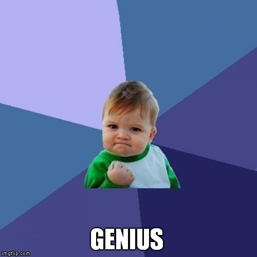 Success Kid Meme | GENIUS | image tagged in memes,success kid | made w/ Imgflip meme maker