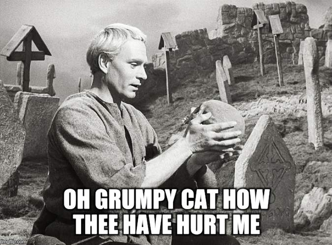 Hamlet | OH GRUMPY CAT HOW THEE HAVE HURT ME | image tagged in hamlet | made w/ Imgflip meme maker